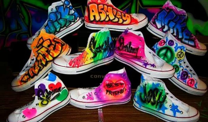 Airbrush Sneakers creation for a party from Airbrush Artist