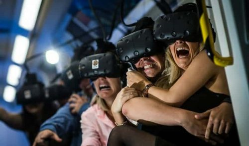 Picture of guests on VR Vive Virtual Reality Tilt Experience rental