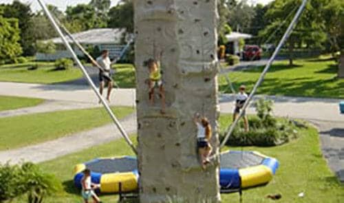 Example of people using Euro Bungee Rock Wall Combo. They are climbing rock wall and using Euro Bungee at the same time.