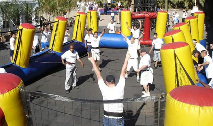 team playing human foosball for teambuilding activity