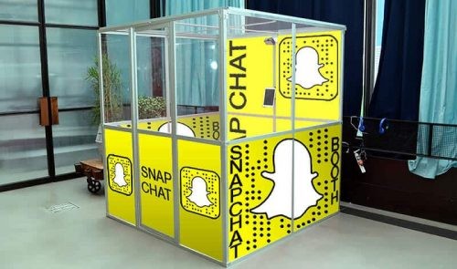 Picture of CoCo Events Snapchat booth for events & parties.