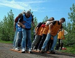 two groups of teams on long skies for team building activity