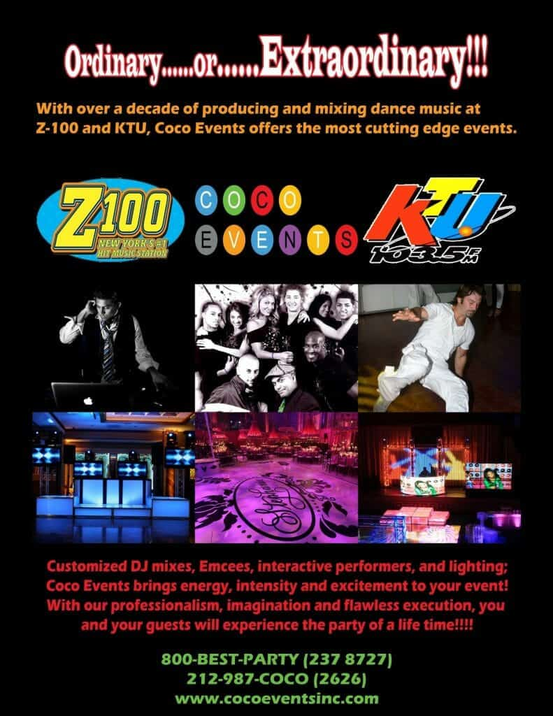 CoCo Event's flyer of Best DJ's in New York City in conjunction with local radio statins Z100 & KTU 103.5