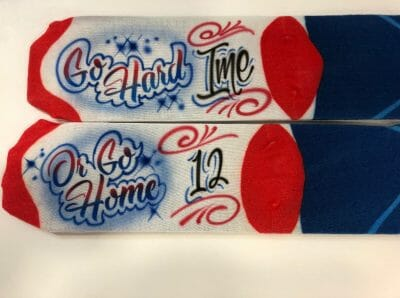 Picture of Airbrushed socks created for Superbowl party in Atlanta.