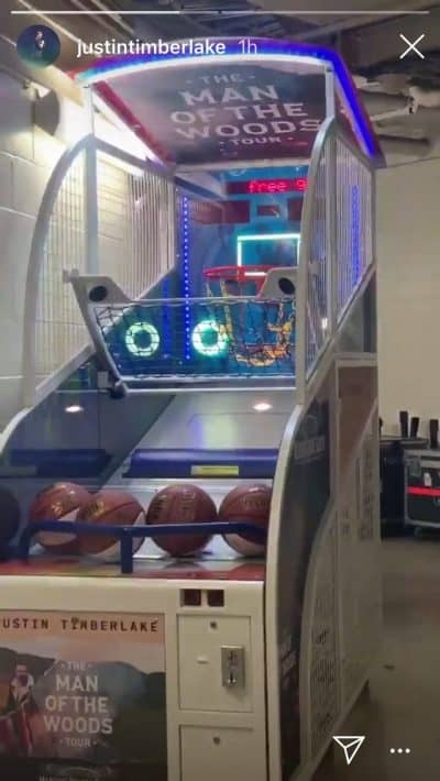 """Picture of Justin Timberlake's Instagram Account showing custom Pop-A-Shot game with his """"Man of the Wood Tour"""" logo after concert at Madison Square Garden."""