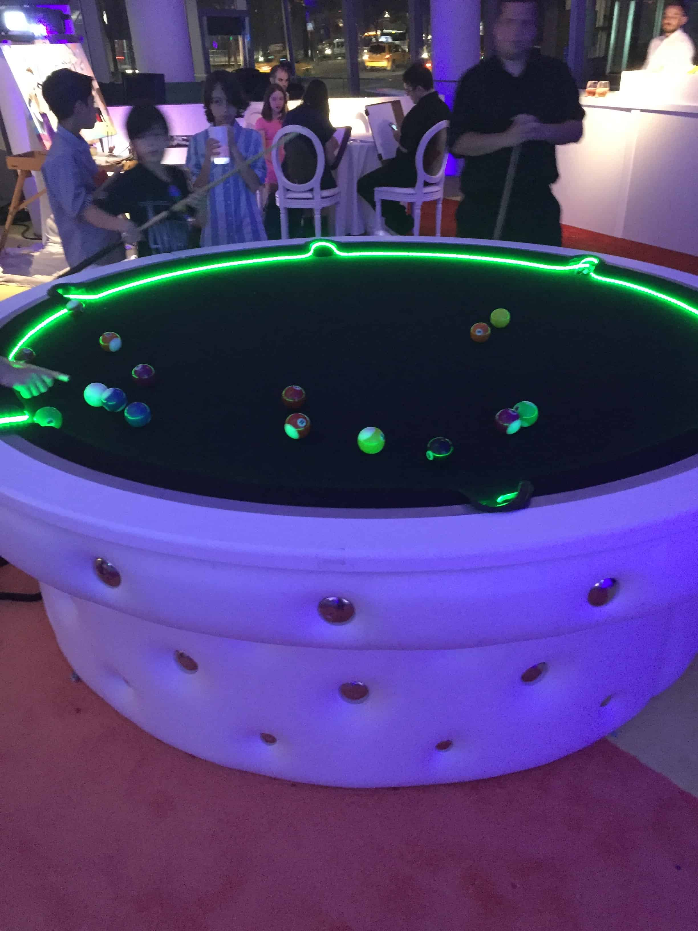 Picture of round LED pool table